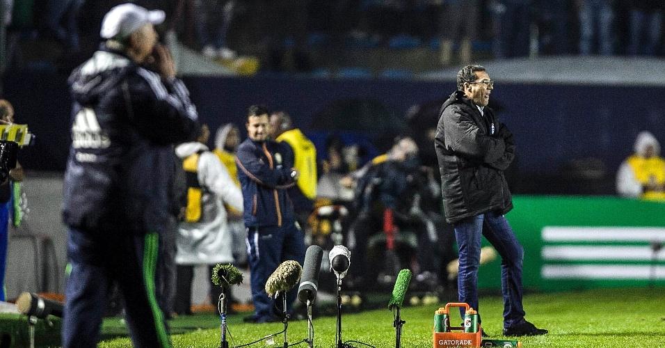 Técnicos Felipão, do Palmeiras, e Vanderlei Luxemburgo, do Grêmio, comandam suas equipes em partida decisiva