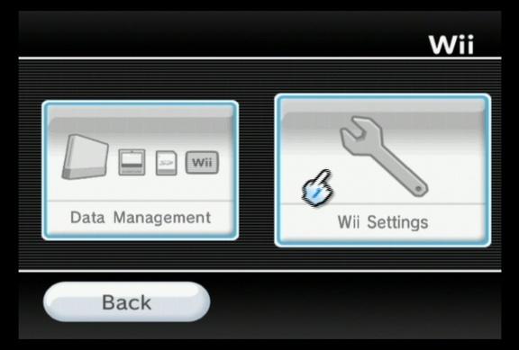 Em seguida, clique em Wii Settings