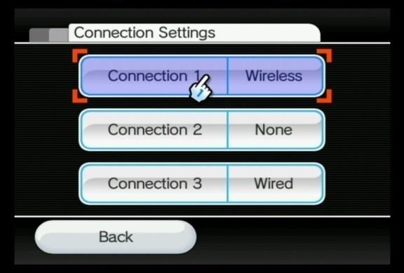Escolha um dos três espaços para conexão disponíveis. O Wii é capaz de salvar as configurações para até três conexões diferentes