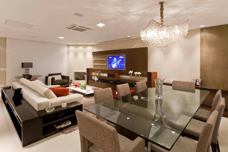 Painel De Tv Na Sala De Jantar ~ projeto foi desenhar sala de jantar, área de TV e living ao longo de