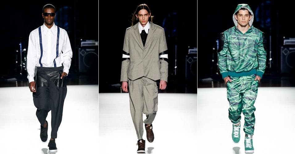 A Der Metropol apresentou uma coleção masculina irreverente, apesar dos ternos e suspensórios e das cores neutras. O colorido ficou para a linha esportiva da marca (23/06/2012)