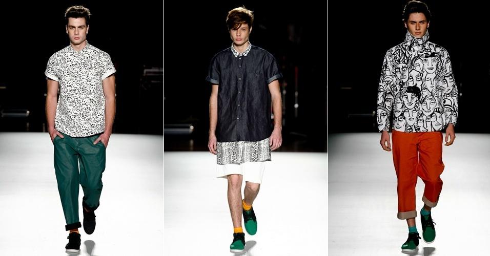 A Juss levou para a passarela da Casa de Criadores sua moda jovem masculina, com muita estampa de inspiração em peles de animais combinada com peças de cores básicas (23/06/2012)