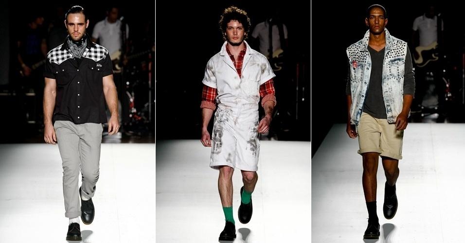 A Top Hat trouxe muito jeans e apostou em ícones do vestuário masculino, como a camisa xadrez e a bermuda (23/06/2012)
