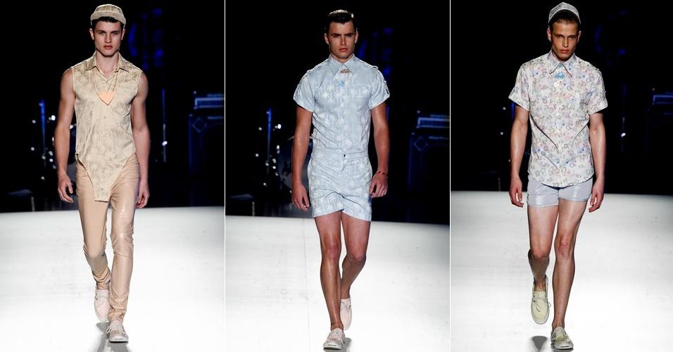 Danilo Costa desfilou no segundo dia da Casa de Criadores coleções feminina e masculina compostas de trajes leves, feitas de tecidos finos, em tons pastel (23/06/2012)