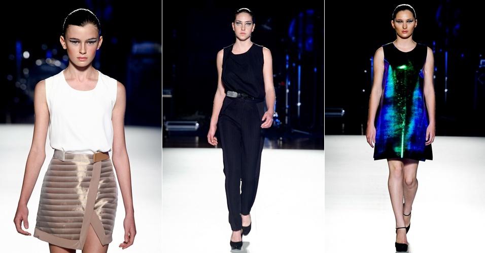 Desfilando no segundo dia da Casa de Criadores, Gabriela Sakate exibiu uma coleção usável, com terninhos, vestidos curtos e shorts e bom uso dos tecidos metalizados (23/06/2012)