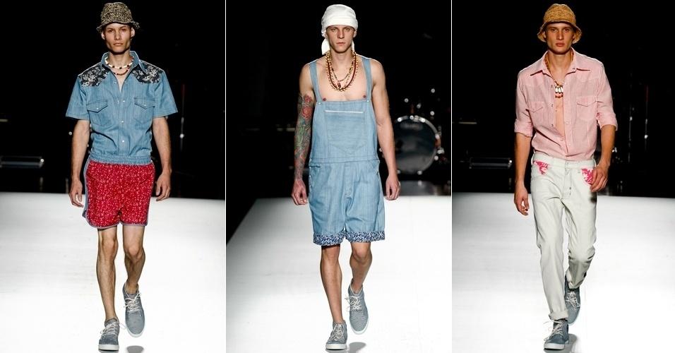 Jeans e estampas também compõem a coleção masculina de Luiz Leite, apresentada no segundo dia de desfiles da Casa de Criadores, evento realizado em São Paulo, no Memorial da América Latina (23/06/2012)
