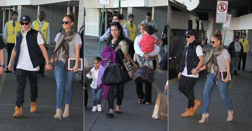Jennifer Lopez chega ao Rio acompanhada dos filhos e do namorado. A cantora se apresenta na cidade na próxima quarta-feira, dia 27 (24/6/12)