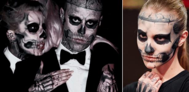 """Lady Gaga e Zombie Boy no clipe """"Born This Way"""" e reprodução da maquiagem, feita por Dani Fonseca"""