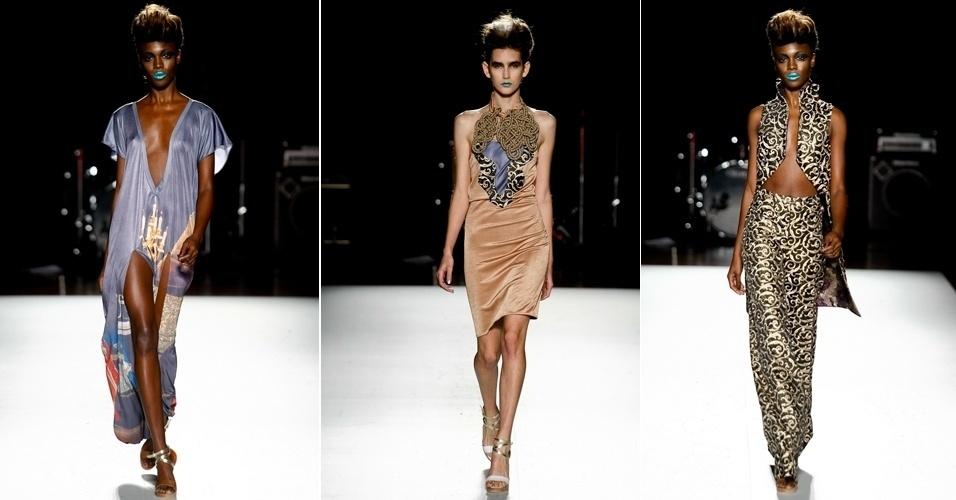 Robert Dognani desfilou looks para moda festa no segundo dia da Casa de Criadores. As criações destacam-se pelos recortes e uso de brocados (23/06/2012)