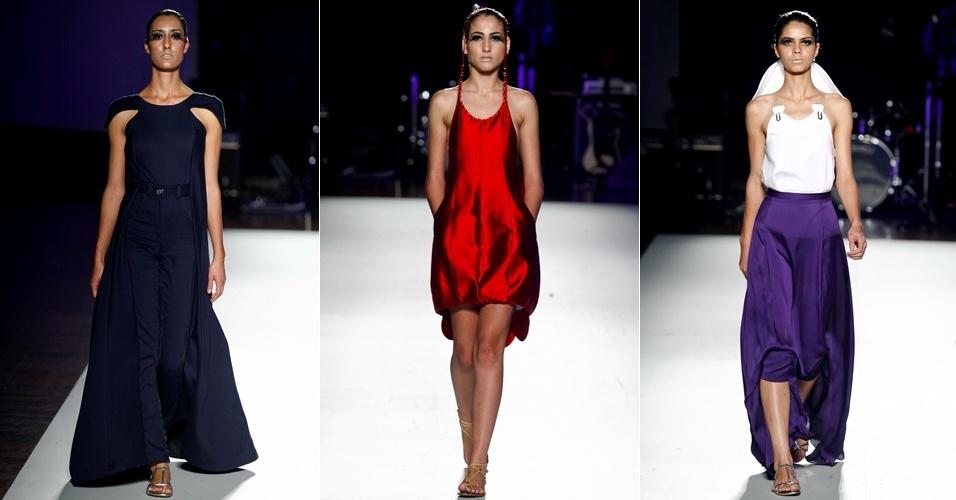 Thiago Shiago Schynider abriu a segunda parte do desfile do Projeto Lab na Casa de Criadores. O estilista apostou nas cores marinho, roxo e rubi para sua coleção de vestidos (23/06/2012)