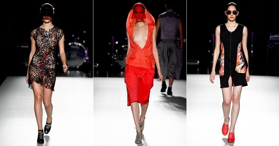 Transparências e combinação de preto com cores vivas estão presentes nas coleções feminina e masculina do estilista Jadson Ranieri, que desfilou no segundo dia da Casa de Criadores. O evento aconteceu em São Paulo, no Memorial da América Latina (23/06/2012)