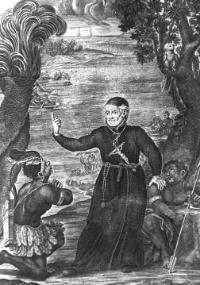 """Padre Antônio Vieira pregando aos índios no Brasil, gravura do livro """"A Arte de Furtar"""" que integra o acervo do Arquivo Nacional"""