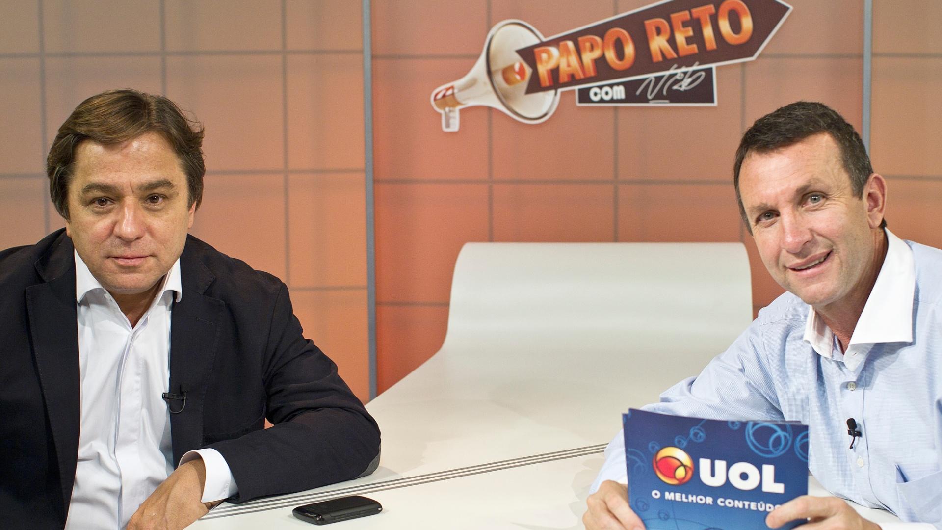 Arnaldo Tirone, presidente do Palmeiras, participa do Papo Reto, apresentado por Neto, no UOL