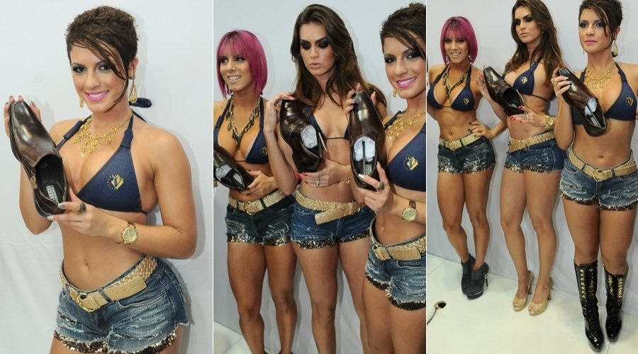 As panicats Babi Rossi, Thais Bianca (de cabelo rosa) e Renata Molinaro estiveram na 44&#170; Feira Internacional da Moda em Cal&#231;ados e Acess&#243;rios (26/6/12)