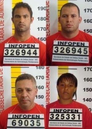Montagem mostra as fichas de identificação de (do alto, à esquerda, para baixo, à direita) Bruno Souza, Luiz Romão (o Macarrão), Marcos Aparecido dos Santos (o Bola ou o Paulista) e Dayanne Rodrigues Souza. Todos são suspeitos de participarem do desaparecimento de Eliza Samúdio