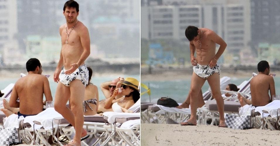 O jogador do Barcelona Lionel Messi passeia vestindo sunga curiosa em praia de Miami, nos Estados Unidos (24/6/12)