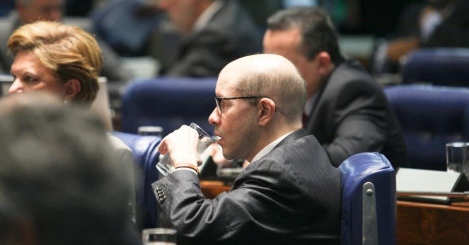 27.jun.2012- Senador Demostenes Torres (sem partido-GO) é visto no plenario do Senado durante sessão