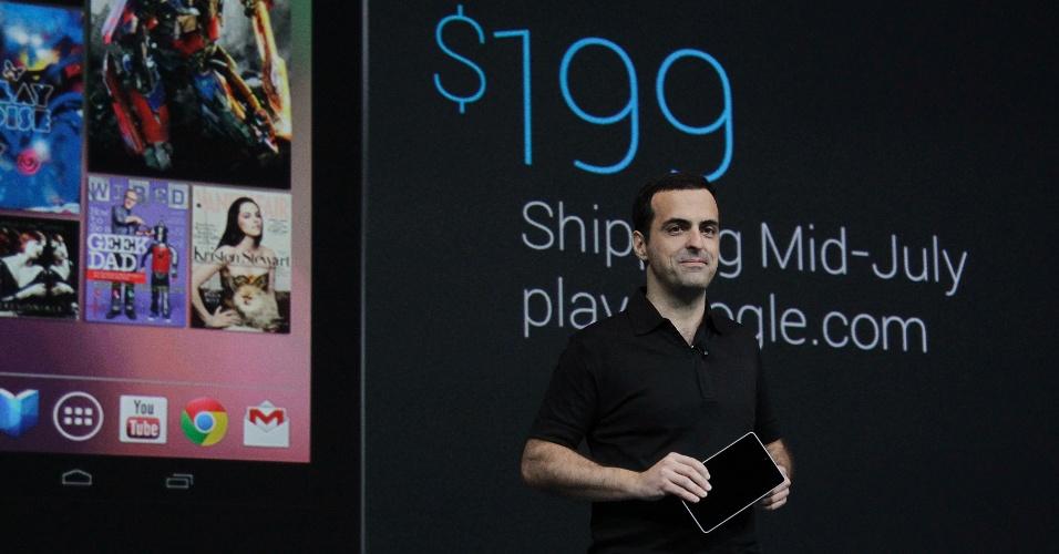 Hugo Barra, diretor de produtos do Googel, revela preço do tablet Nexus 7. Ele custará US$ 199 e começará a ser vendido na segunda metade de julho no Reino Unido, Austrália, Estados Unidos e Canadá