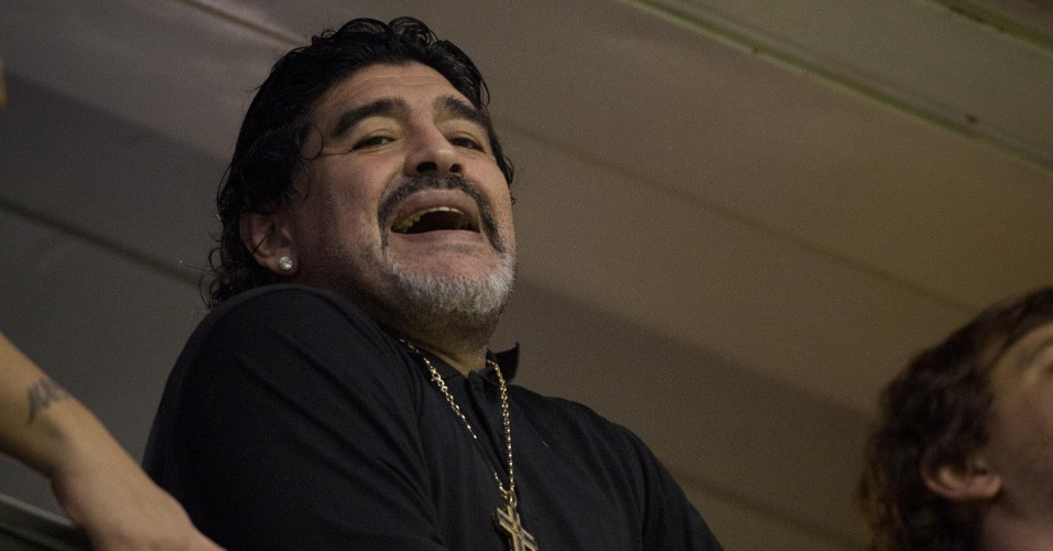 Nos camarotes de La Bombonera, Diego Maradona acompanha final da Libertadores