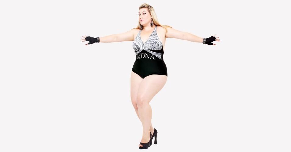 Samantha Rebello em ensaio plus size inspirado na cantora Madonna