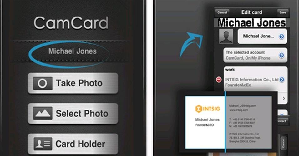CamCard, que tem versões gratuitas e pagas, para iPhone e smartphones Android, captura os dados do cartão e insere na agenda