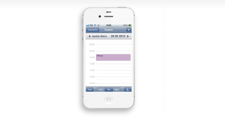 Crie um evento com um toque. No calendário, apoie por alguns segundos o dedo em qualquer lugar da tela para abrir um evento. Depois, você pode mudar seus compromissos de horário arrastando as caixas para os locais desejados