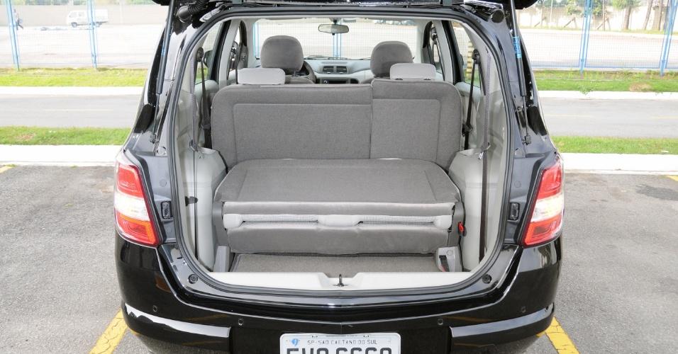 Esta configuração é a ideal viajar com 4 pessoas e bagagem; rebatimento total leva capacidade a 1.668 litros