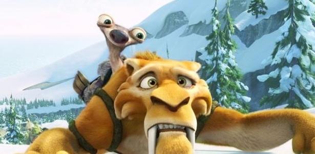 Em A Era do Gelo 4, Diego tenta não derrapar na neve enquanto carrega um filhote de bicho-preguiça. O filme será exibido em 3D