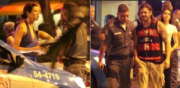 Em frente a uma pizzaria do Rio, Luana Piovani chamou a polícia para garantir que Dado Dolabella mantenha a distância determinada pela Justiça (22/2/11)