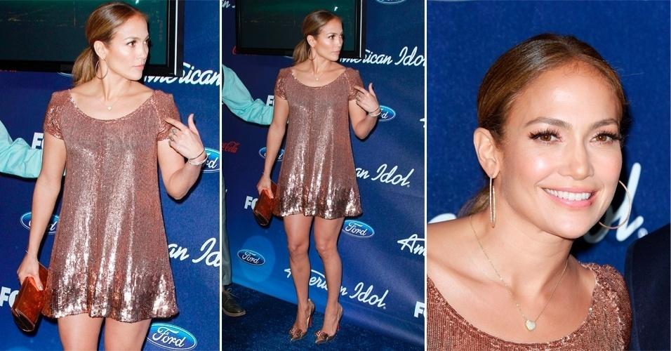 Já para ocasiões mais formais, Jennifer Lopez gosta de mostrar as pernas malhadas. Para ir a uma festa do programa norte-americano