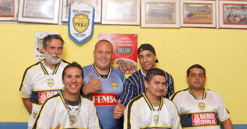 Jogadores e diretoria do Boca no Bar do Tico