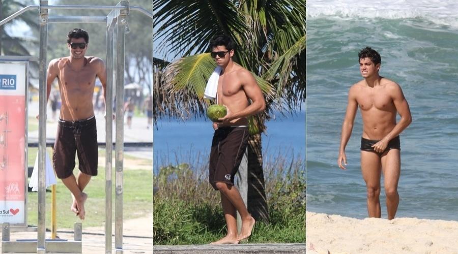 Rodrigo Simas se exercitou nesta sexta pela orla da praia do Recreio, zona oeste do Rio (28/6/12)