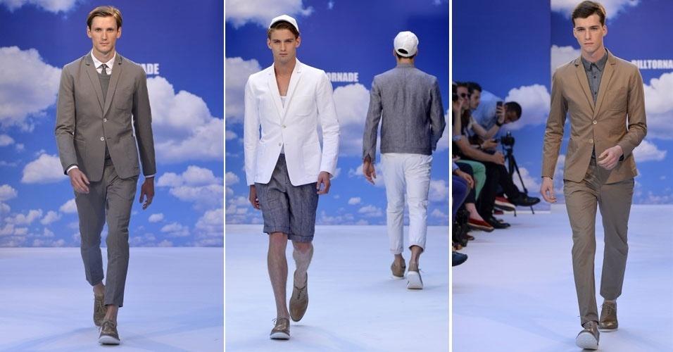 Coleção primavera-verão 2013 de Bill Tornade teve costumes em tons terrosos cujas calças deixam as canelas masculinas aparecendo. Nos modelos mais casuais, tecidos maleáveis que lembram o jeans e peças brancas dão a sensação de conforto