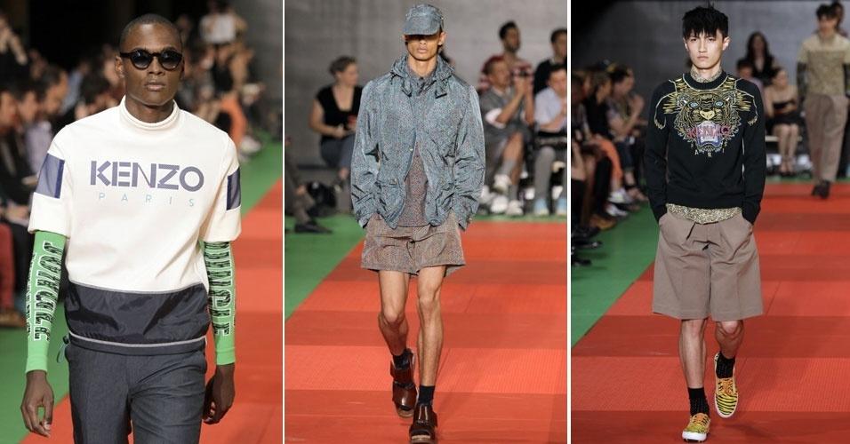 Desfile da Kenzo, com coleção Verão 2013, apresentou peças sobrepostas e cores intensas nas roupas masculinas (30/6/2012)