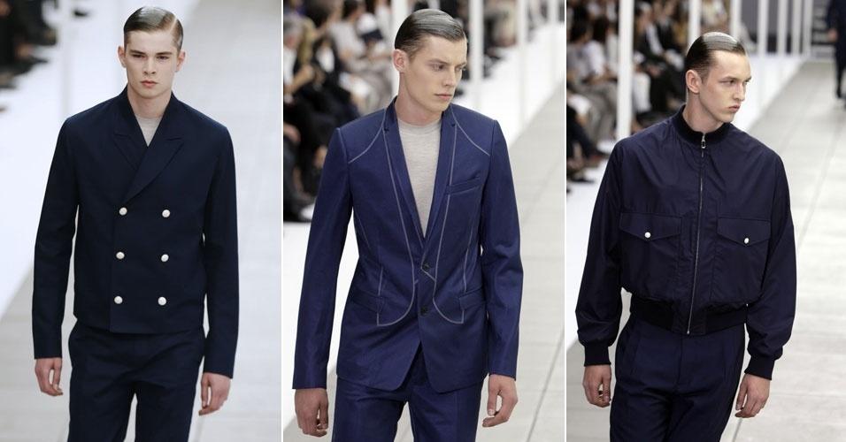 Para o desfile de tendências para o verão 2013, Kris Van Assche criou para a Dior uma coleção masculina em tons sóbrios. Entre as peças, jaquetas e paletós que marcam a cintura (30/6/2012)