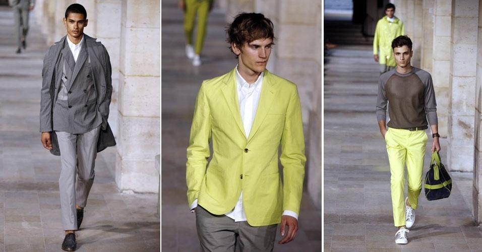 Tom cítrico não enfraquece a elegância das criações da designer francesa Veronique Nichanian para Hermès. Desfile em Paris apresentou as tendências para o Verão 2012 (30/6/2012)