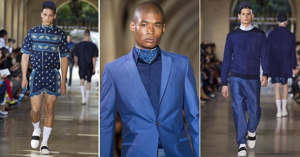Azul foi a cor predominante da coleção Verão 2013 da Qasimi Homme. O lançamento das tendências masculinas foi realizado na Semana de Moda de Paris (1/7/2012)