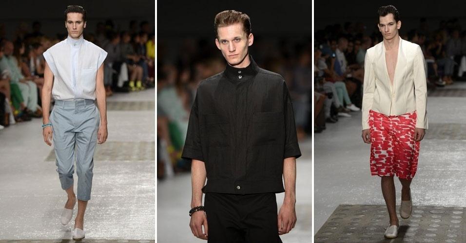 Songzio desfila moda masculina na Semana de Moda de Paris. Entre as tendências da grife, camisas com golas que lembram batinas e cores tranquilas para o Verão 2013