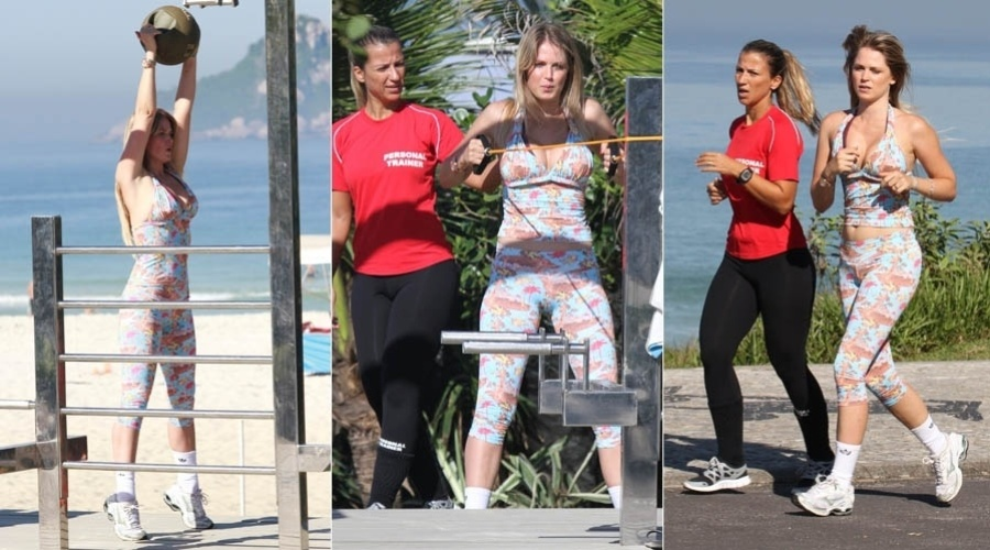 Acompanhada de sua personal trainer, Susana Werner faz exerc&#237;cios em praia da zona oeste do Rio (2/7/2012)