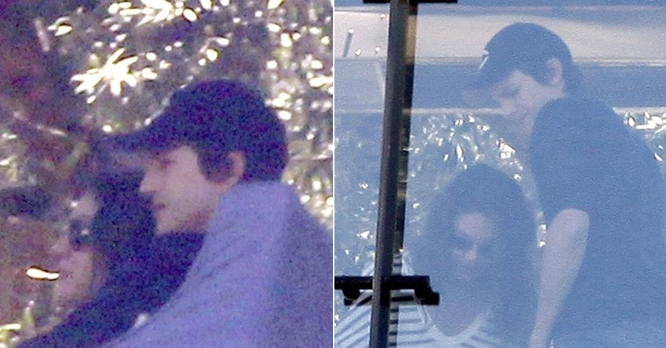 Mila Kunis e Ashton Kutcher almoçam juntos em restaurante em West Hollywood, na Califórnia (30/6/12)