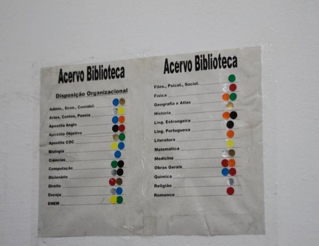 Controle do acervo da biblioteca da Penitenciária 1 de Serra Azul