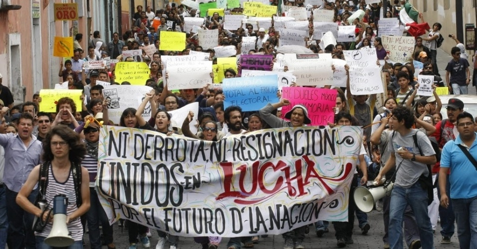 3.jul.2012 - Protesto no M&#233;xico para pedir recontagem de votos nas elei&#231;&#245;es presidenciais