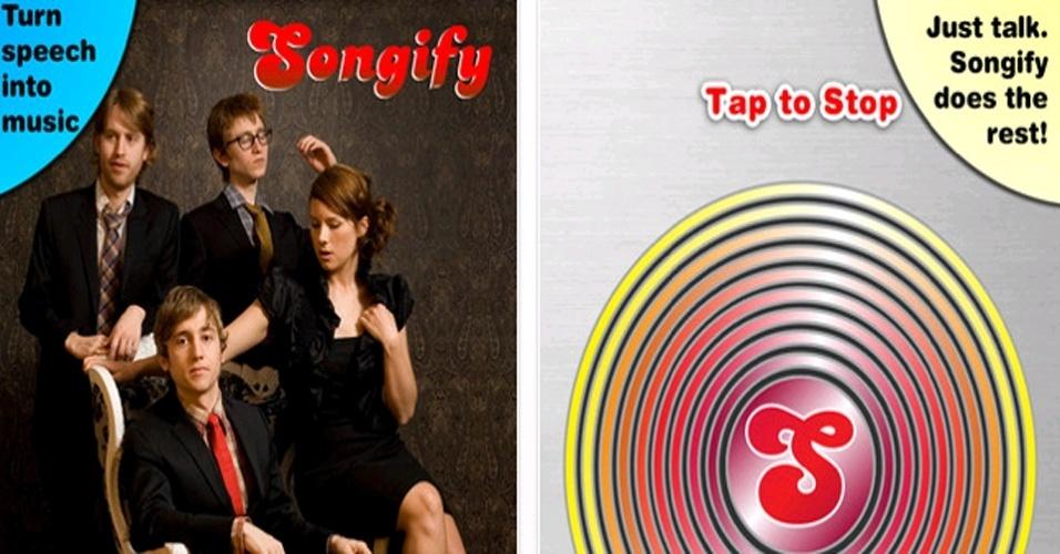 Aplicativo gratuito Songify permite pegar palavras ditas pelo usuário do celular e mixar com trilhas de pop, rap, country ou rock
