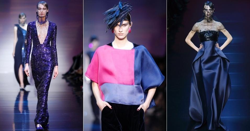 Looks de Giorgio Armani Privé para o Inverno 2012 na semana de alta-costura de Paris (03/07/2012)