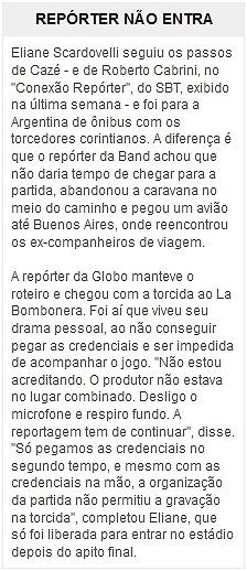 Jornalista da Globo fica sem credencial em La Bombonera e chora na porta do estádio