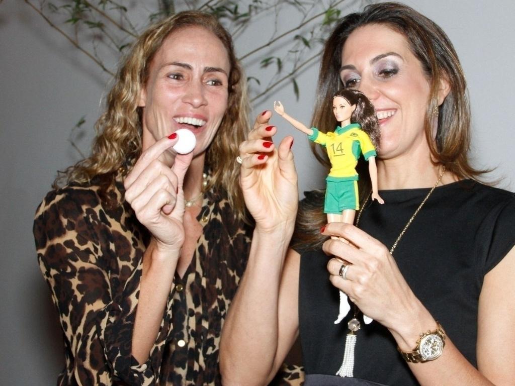 Fernanda Venturini reencontra Ida durante o evento realizado em São Paulo. A dupla esteve no grupo que conquistou o bronze na Olimpíada de Atlanta-1996