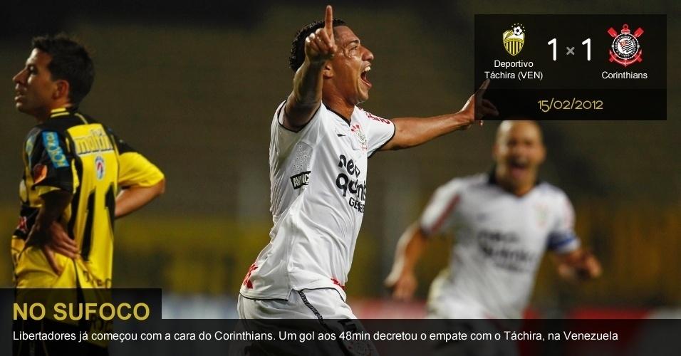 .Deportivo Táchira (VEN) 1 X 1 Corinthians: Libertadores já começou com a cara do Corinthians. Um gol aos 48min decretou o empate com o Táchira, na Venezuela