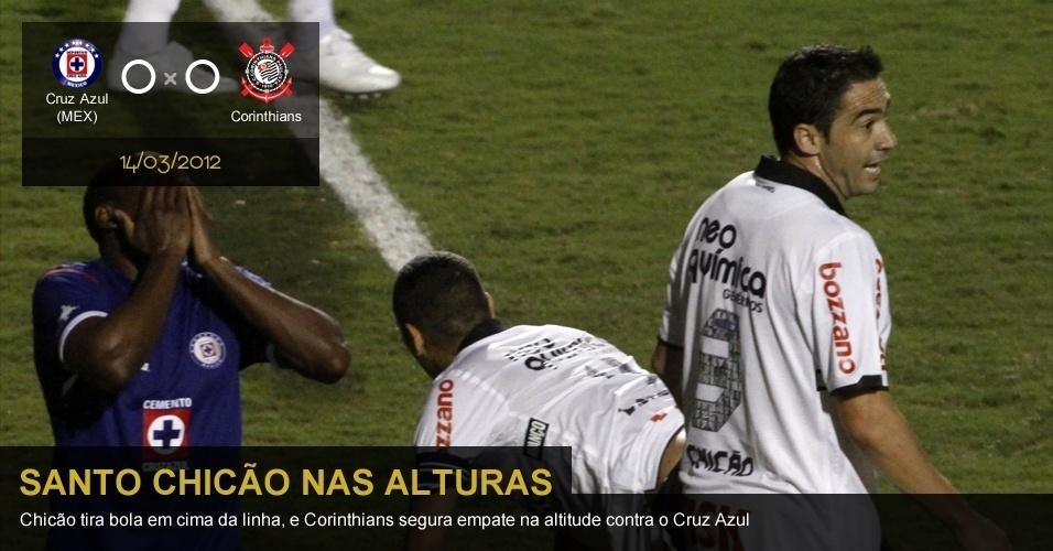 .Cruz Azul (MEX) 0 X 0 Corinthians: Chicão tira bola em cima da linha, e Corinthians segura empate na altitude contra o Cruz Azul
