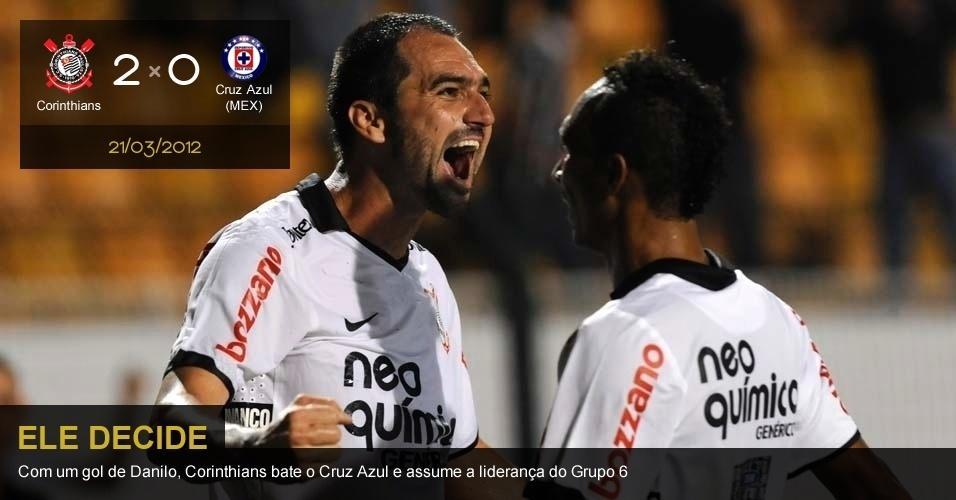 .Corinthians 1 X 0 Cruz Azul (MEX): Com um gol de Danilo, Corinthians bate o Cruz Azul e assume a liderança do grupo 6