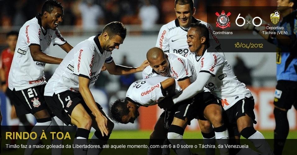 .18/04/2012 - Corinthians 6 x 0 Deportivo Táchira (VEN): Timão faz a maior goleada da Libertadores, até aquele momento, com um 6 a 0 sobre o Táchira, da Venezuela